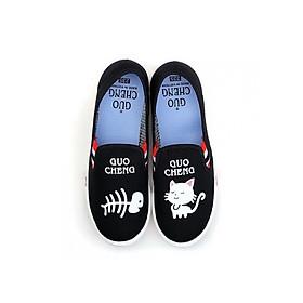 Giày slip on vải mèo cá màu đen S277