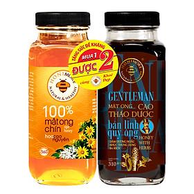 Bộ Mật ong cao thảo dược Gentleman 310g + 1 lọ mật ong chín Honimore Hoa Cao Nguyên 360g - Giúp chăm sóc sức khỏe đàn ông, tăng cường bản lĩnh quý ông