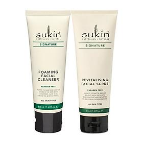 Bộ đôi làm sạch & loại bỏ tế bào chết Sukin (Sữa rửa mặt tạo bọt Sukin Foaming Facial Cleanser 50ml + Kem tẩy tế bào chết dành cho da mặt Sukin Revitalising Facial Scrub 50ml)
