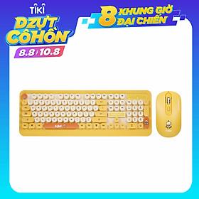 Bộ bàn phím và chuột không dây DSFY .Combo Bàn Phím và Chuột Không Dây Siêu Dễ Thương màu vàng
