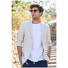Áo vest blazer Linen nam dáng lửng, chất vải linen tự nhiên mềm mại, thời trang phong cách lịch lãm - Trắng