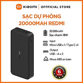 Pin Sạc Dự Phòng Xiaomi Redmi 20000mAh PB200LMZ Tích Hợp Cổng USB Type - C In Hỗ Trợ Sạc Nhanh 18W - Hàng Chính Hãng