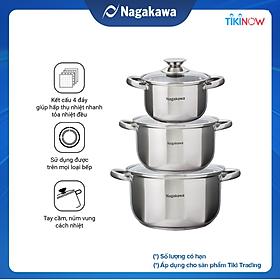 Bộ 3 Nồi Inox Cao Cấp 4 Đáy Nagakawa NAG1304 (16cm, 20cm, 24cm) Dùng Cho Mọi Loại Bếp - Hàng Chính Hãng