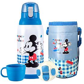 Bình nước giữ nhiệt 2 nắp kèm túi giữ nhiệt hình chuột Mickey màu xanh cho trẻ em, các bé, học sinh - (500ml) - WD-3298MK