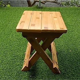 Ghế xếp mini gấp gọn để được cốp ô tô bằng gỗ Tre Tự Nhiên - Dùng để di du lịch,dã ngoại