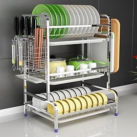 Kệ nhà bếp - úp chén 3 tầng có khay hứng nước đa năng
