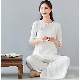 Bộ Quần Áo Tập Thiền , Yoga, quần áo đi Lễ Chùa cổ tròn 2 lớp vải đũi mềm  Thiền Chay