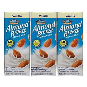Lốc 3 Hộp Sữa Hạt Hạnh Nhân ALMOND BREEZE VANILLA 180ml - Sản phẩm của TẬP ĐOÀN BLUE DIAMOND MỸ - Đứng đầu về sản lượng tiêu thụ tại Mỹ