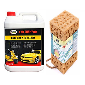 Combo Can Nước rửa xe cho ô tô xe máy 5 lít kèm Mút lau rửa chuyên dụng dành cho ô tô, xe máy