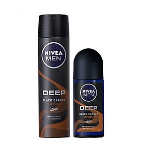 Bộ đôi Xịt Ngăn Mùi Nivea Men Than Đen Hương Espresso 150ml và Lăn Ngăn Mùi Nivea Men Than Đen Hương Espresso 50ml