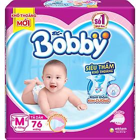 Tã Dán Bobby Siêu Mỏng Thấm Gói Siêu Lớn M76 (76 Miếng)