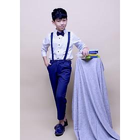 Áo sơmi tay dài bé trai cotton trắng chấm jadiny TAS027