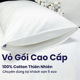 Combo 2 Vỏ gối khách sạn 5 sao màu trắng trơn - Mát mẻ mịn màng - Vỏ gối Cotton Sateen thiên nhiên 100%