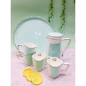 Bộ trà sứ xương cao cấp cốc cao chấm bi xanh ROYAL 5546