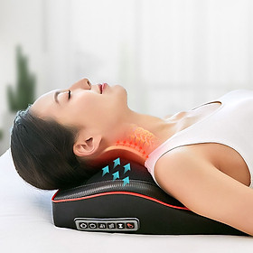 Gối Massage Hồng Ngoại Giúp Mát Xa Vai, Cổ, Gáy, Cột Sống Lưng Đa Năng Kết Hợp Với Chế Độ Rung Và Nhiệt, Chất Liệu Bọc Da Cao Cấp - Hàng Chính Hãng