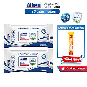 Aiken Combo 2 Gói Khăn Ướt Sạch Khuẩn Chiết Xuất Trà Xanh 50 tờ/gói