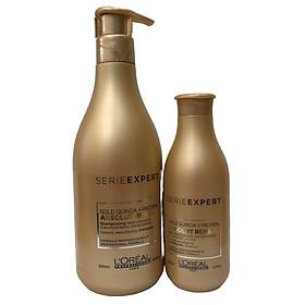 Bộ dầu gội xả phục hồi tóc L'oreal Serie Expert Gold quinoa + Protein Absolut Repair Instant resurfacing 500ml+200 ml (MỚI CHÍNH HÃNG )