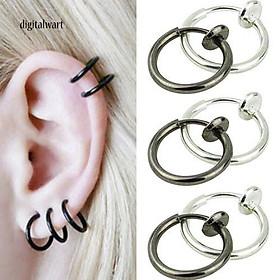Khuyên tai tròn thiết kế đơn giản dùng để xỏ tai/mũi/môi cá tính trẻ trung dành cho nam và nữ