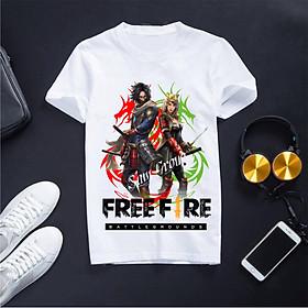 Áo Thun Free Fire Màu Trắng Cổ Tròn In Hình Samurrai, Chất Liệu Cotton Co Dãn 4 Chiều, Hình Đảm Bảo Không Bong Tróc