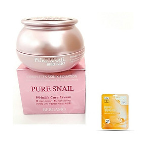 Kem Bergamo ỐC SÊN Pure Snail Dưỡng Trắng Tái Tạo Da KOREA + Tặng Mask 3W CLINIC_FRESH COENZYME Q10 MASK SHEET