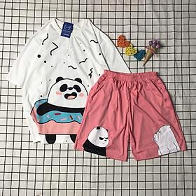 [ẢNH THẬT] Set Đồ Bộ Gấu Trúc PanddDa cartoon 3D Cute-Lapi VN Áo+ Quần Đùi Vải Thun Cotton Thoáng Mát, Freesize, Set Trang Phục