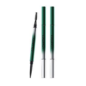 Colorkey Dual-ended Eyebrow Pencil with Brush Long-lasting Waterproof Natural Eyebrow Pen Eye Makeup -Green tube