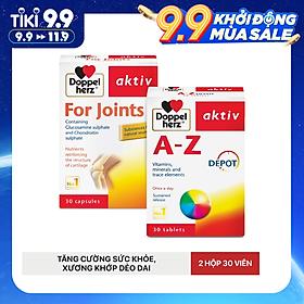 Bộ đôi bổ sung vitamin và khoáng chất tăng đề kháng, cải thiện chức năng khớp Doppelherz A-Z Depot + For Joints (02 hộp 30 viên)