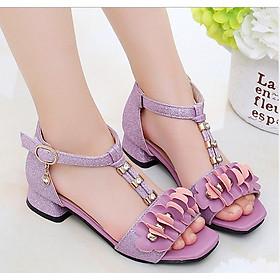 Sandal hoa tím cao gót bé gái 3 - 12 tuổi kiểu dáng Hàn Quốc - SD51T