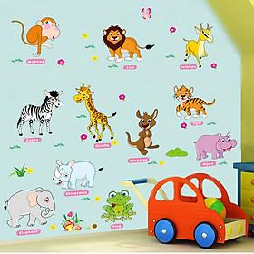 Decal dán tường dán kính Các con vật bằng tiếng anh cho bé AM9215