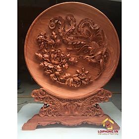 Đĩa gỗ trang trí hồng trĩ bằng gỗ hương đường kính đĩa 30 – 35 - 40 cm dày 4 cm