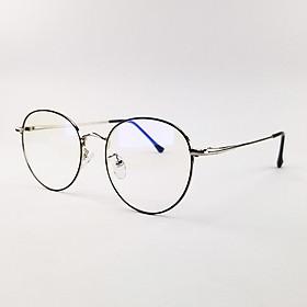Gọng kính nữ - nam mắt cận tròn màu đen, bạc, hồng vàng chất liệu kim loại SA9009. Tròng kính giả cận 0 độ chống ánh sáng xanh, chống tia UV