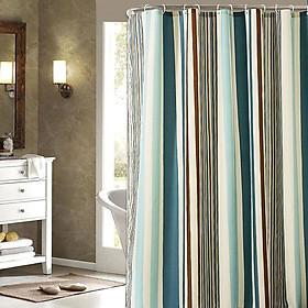 Rèm che phòng tắm chống thấm cao cấp, màu xanh kẻ, kèm theo móc, có 3 loại kích thước HT714