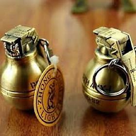 Bật Lửa Quẹt Gas hình Lựu Đạn tròn vàng đồng