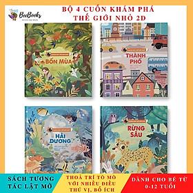Sách- Bộ 4 Cuốn Sách Khám phá thế giới nhỏ ( Rừng Sâu, Hải Dương, Thành Phố, Bốn Mùa ) - Sách tương tác lật mở cho trẻ (0 - 12 tuổi)
