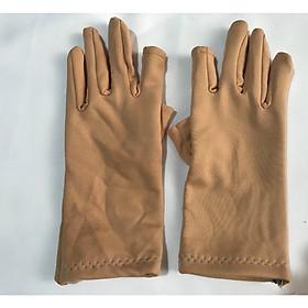 Bao tay găng tay Nữ chất liệu vải cotton hở 2 ngón chống nắng giữ ấm lái xe, sử dụng điện thoại - B02