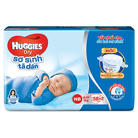 Tã Dán Sơ Sinh Huggies Dry Newborn (58 Miếng + 2 Miếng)-0