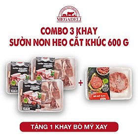 Combo 3 khay sườn non (600g) + Tặng 1 khay bò Mỹ Xay (300g)
