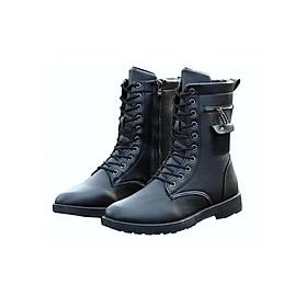Giày nam combat boot dây kéo ngang SM003