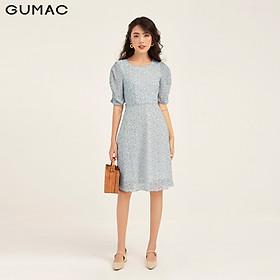 Đầm nữ dáng xòe GUMAC DB1135 thiết kế rã eo nhún tay