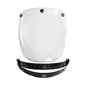 Motorcycle Harley Helmet Tri-Button Lens With Black Frame Transparent Lens