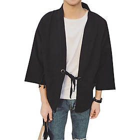 Men Women Vintage Three Quarter Sleeve Thin Kimono Cardigan