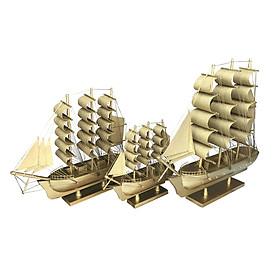 Combo 3 Mô Hình Thuyền Gỗ Trang Trí LeBelem - Vàng Ánh Kim