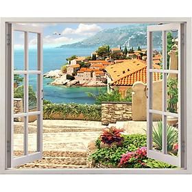 Tranh dán tường cửa sổ 3D cảnh biển đẹp VTC VT0246