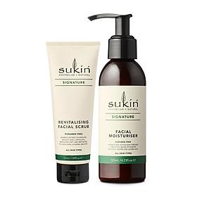 Bộ đôi loại bỏ tế bào chết & dưỡng ẩm da mặt Sukin Signature (Kem tẩy tế bào chết Revitalising Facial Scrub 50ml + Kem Dưỡng Ẩm Facial Moisturiser 125ml)