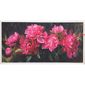 Tranh sơn dầu vẽ tay Hoa mẫu đơn OP020