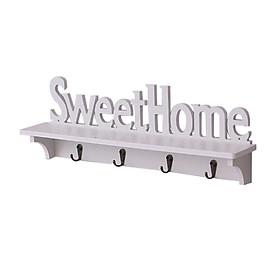 Kệ trang trí treo tường có 4 móc SweetHome tặng kèm 1 dây cột tóc hoa mặt trời