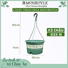 3 Chậu treo trồng cây MONROVIA Size M, Dòng T-series, chậu nhựa treo trang trí, trồng cây cảnh ban công, chậu trồng hoa, thiết kế tinh tế, thoát nước tốt, nhựa cao cấp PP, nhập khẩu, tiêu chuẩn Châu Âu