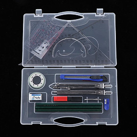 16Pc Compass Protractor Triangle Rulers Set Math Drafting Drawing Geometry Tools