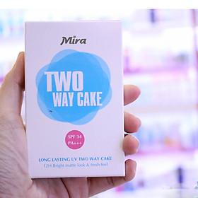 Phấn nén trang điểm siêu mịn Mira Two Way Cake Hàn Quốc 12g No.21 Cream Beige tặng kèm móc khoá-5