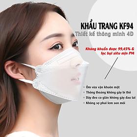 Một Hộp Gồm 10 Cái Khẩu Trang KF94, kháng Khuẩn, Chống Bụi, Màu Trắng - Đạt Các Chứng Chỉ ISO 13485, ISO 9001, CE, FDA, TGA.